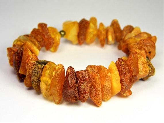 Baltic Amber bracelet natural genuine stones stretchable 17 grams men's / women's / unisex jewelry authentic unique gemstone 3689