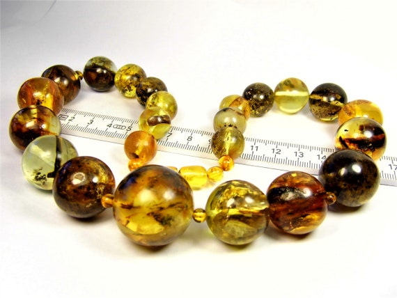 Natural genuine real Baltic Amber round stones handmade unique 103 grams massive necklace authentic women's jewelry