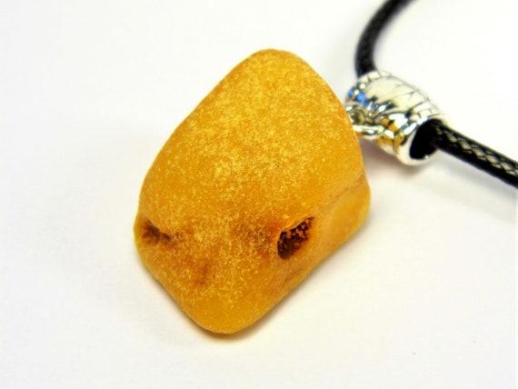 Raw Baltic Amber stone pendant necklace 5.9 grams natural genuine men's women's unisex unique jewelry authentic 3704