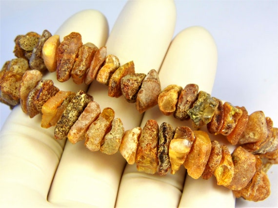Lot of 2 raw Baltic Amber bracelets unpolished rough natural genuine stones stretchable 22 grams men's / women's / unisex jewelry 3683