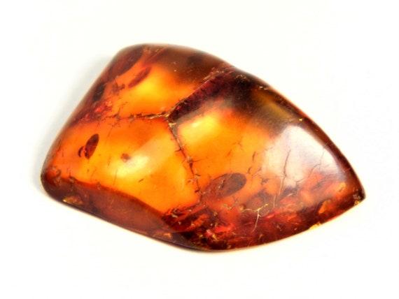 Baltic Amber stone cabochon 2.3 grams natural genuine real authentic cognac / honey / transparent color 3715