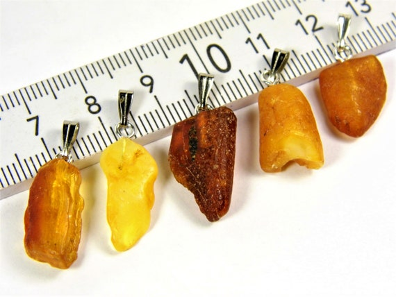 Lot of 5 natural genuine raw unpolished Baltic Sea Amber stone pendants multi-color 3.1 grams authentic women's jewelry FREE SHIPPING! 2701