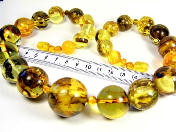 Honey / transparent natural genuine real Baltic Amber stones handmade unique 107 grams necklace authentic women's jewelry