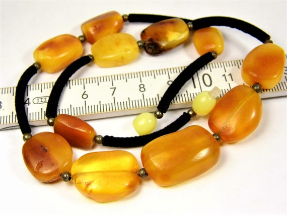 Butterscotch / honey Baltic Amber stones natural genuine unique authentic women's necklace 19 grams / 17.7 inches jewelry 809a