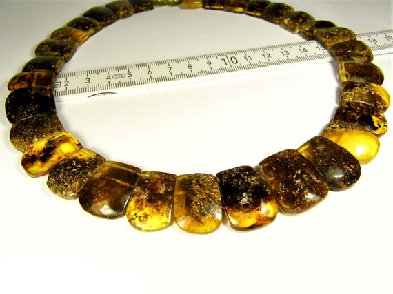 Natural genuine black / greenish Baltic Amber stones unique collar necklace women's jewelry 46 grams / 18 inches FREE SHIPPING 710a
