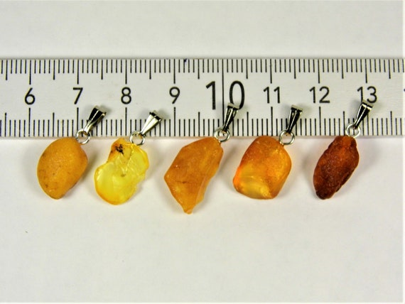 Lot of 5 natural genuine raw unpolished Baltic Sea Amber stone pendants multi-color 2.5 grams authentic women's jewelry FREE SHIPPING! 2677