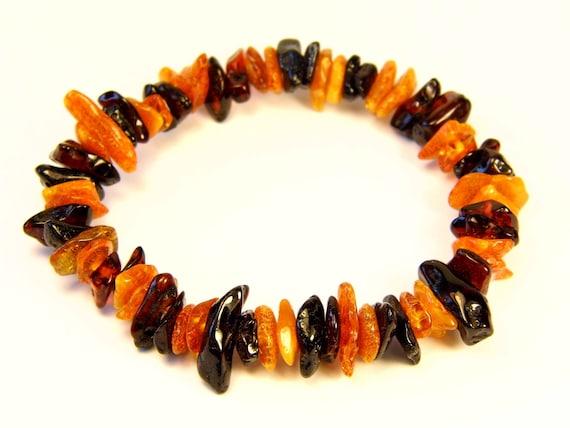 Baltic Amber multicolor bracelet natural genuine stones stretchable 8.6gr men's / women's / unisex jewelry authentic unique gemstone 1070a