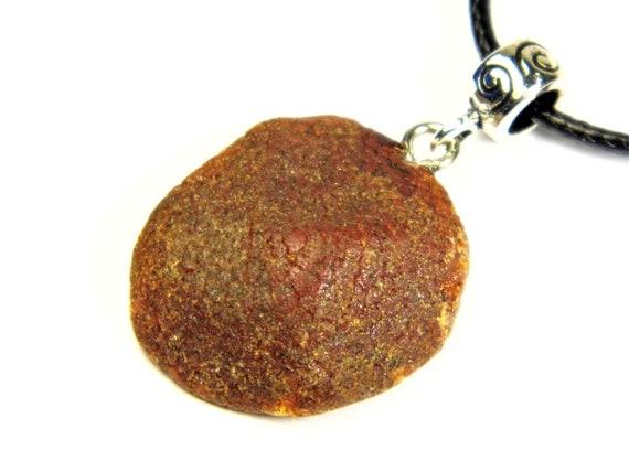 Raw unpolished Baltic Amber rough stone pendant necklace natural genuine men's women's unisex unique jewelry authentic 3564