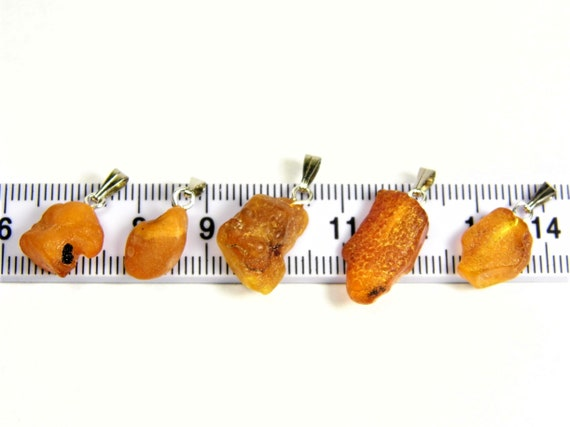 Lot of 5 Natural genuine real raw unpolished rough Baltic Amber stones pendants men's / women's / unisex authentic jewelry 3635