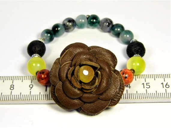 Natural genuine Baltic Amber / Stone / Leather handmade flower shape bracelet unique women's jewelry FREE SHIPPING 27z