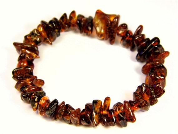 Baltic Amber bracelet natural genuine brown stones stretchable 9.6gr men's / women's / unisex jewelry authentic unique gemstone 1083a