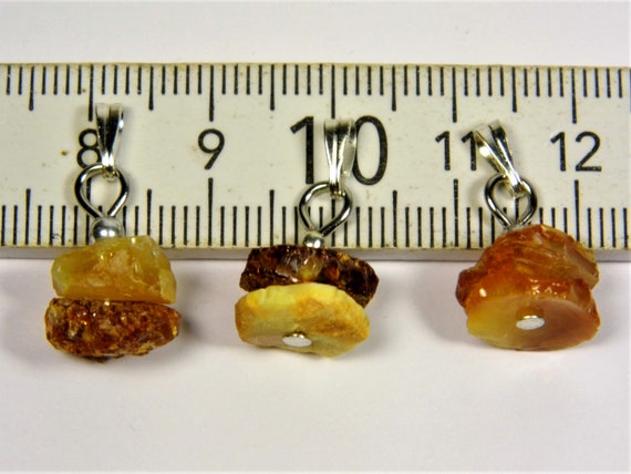 Lot of 3 Natural genuine Baltic Amber raw rough unpolished stone small pendants 1.9 grams unique women's jewelry authentic rare 2538