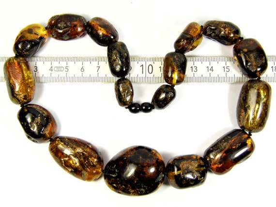 Baltic Amber olive shape stones natural genuine unique authentic massive necklace women's jewelry 804a