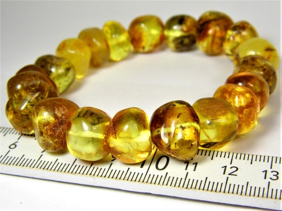 Honey / transparent color natural genuine real Baltic Amber stone stretchable bracelet 27 grams authentic women's jewelry FREE SHIPPING 750a