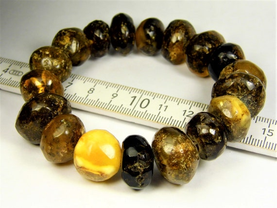Baltic Amber stones natural genuine unique authentic women's bracelet jewelry multi-color 44 grams / 6.9 inches FREE SHIPPING 815a