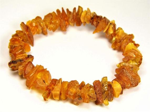 Raw Baltic Amber bracelet unpolished natural genuine stone stretchable 14gr men's / women's / unisex jewelry authentic unique gemstone 1057a