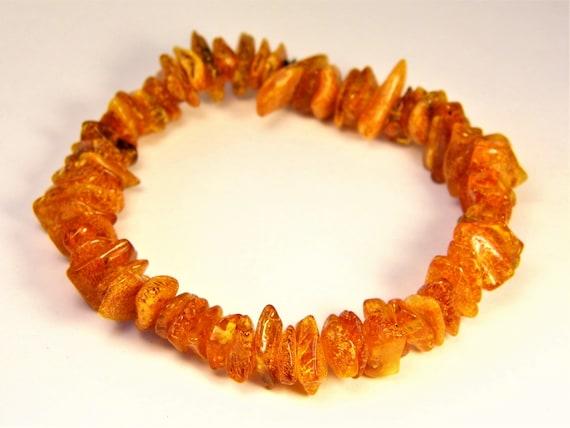 Baltic Amber bracelet natural genuine brown stones stretchable 9.6gr men's / women's / unisex jewelry authentic unique gemstone 1071a