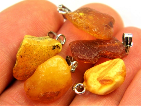 Lot of 5 natural genuine raw unpolished Baltic Sea Amber stone pendants multi-color 2.7 grams authentic women's jewelry FREE SHIPPING! 2683