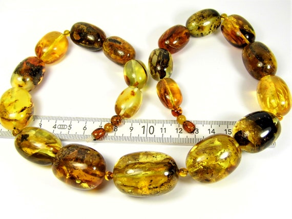 Baltic Amber massive necklace natural genuine real olive shape stones handmade unique large 130 grams authentic women's jewelry