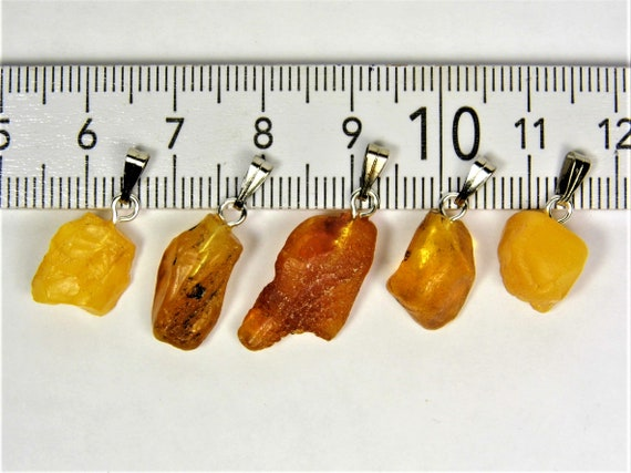 Lot of 5 natural genuine raw unpolished Baltic Sea Amber stone pendants multi-color 2.9 grams authentic women's jewelry FREE SHIPPING! 2686