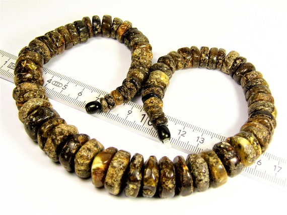 Black Baltic Amber necklace natural genuine stones handmade unique authentic 66 grams unisex jewelry 872a