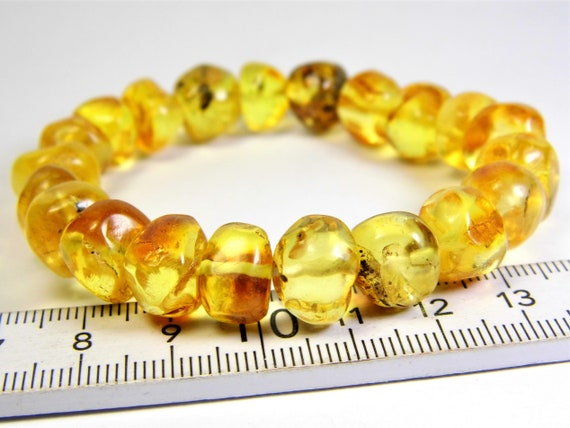 Natural genuine Baltic Amber bracelet transparent stones stretchable 15 gram men's / women's / unisex jewelry authentic unique 966a