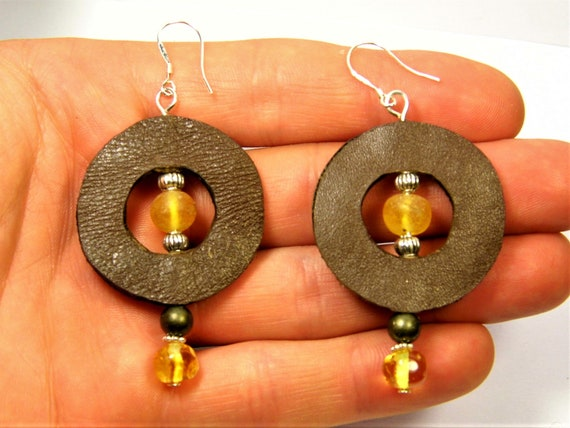 Natural genuine Baltic Amber stone / Leather / Sterling Silver 925 handmade earrings authentic unique women's jewelry FREE SHIPPING 17z