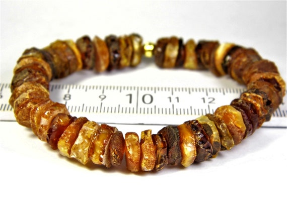 Natural genuine real raw unpolished Baltic Amber gemstone stretchable bracelet authentic unisex jewelry 13 grams  FREE SHIPPING 2583