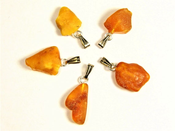 Lot of 5 Natural genuine real raw unpolished rough Baltic Amber stones pendants men's / women's / unisex authentic jewelry 3625