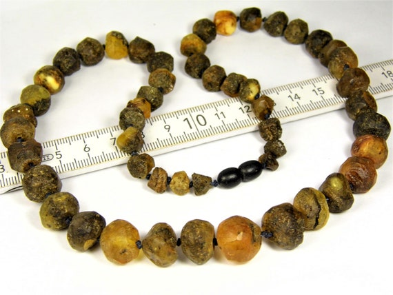 Black / brown natural genuine Baltic Amber raw unpolished rough baroque shape stones unique 34 grams necklace authentic unisex jewelry 823a