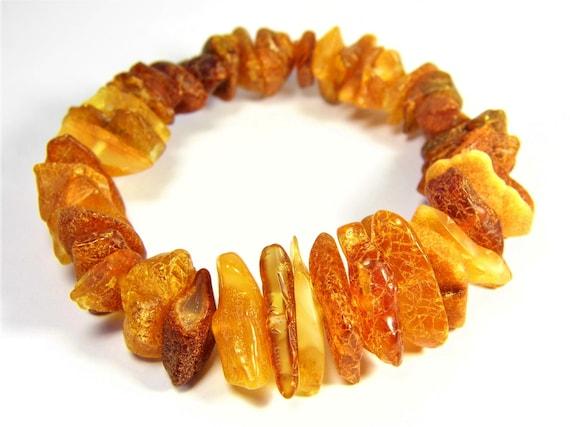 Baltic Amber bracelet natural genuine stones stretchable 16 grams men's / women's / unisex jewelry authentic unique gemstone 3690