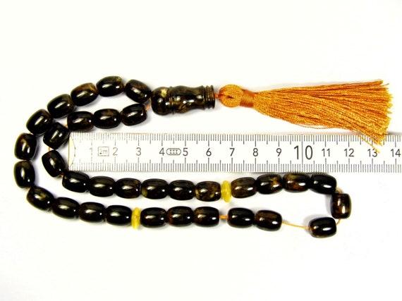 Pressed Baltic Amber Tasbih Islamic Muslim Rosary 33 prayer beads 25 grams brown / black color 3311