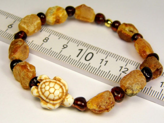 Raw rough natural genuine unpolished Baltic Amber stones bracelet with turtle 6.9 grams authentic unique women's jewelry 3013