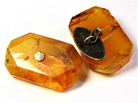 Pressed Baltic Amber and Silver 875 old vintage antique retro cuff-links authentic men's jewelry 8.6 grams FREE SHIPPING 1364