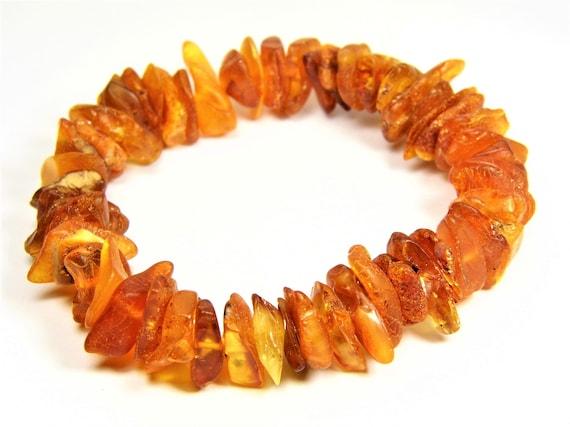Baltic Amber bracelet natural genuine stones stretchable 18 grams men's / women's / unisex jewelry authentic unique gemstone 1052a