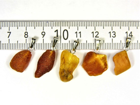 Lot of 5 natural genuine raw unpolished Baltic Sea Amber stone pendants multi-color 3.2 grams authentic women's jewelry FREE SHIPPING! 2678
