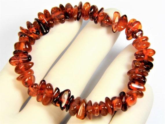 Natural genuine Baltic Amber stretchable bracelet cognac / honey / brown 7.7 grams authentic unique women's jewelry 2964