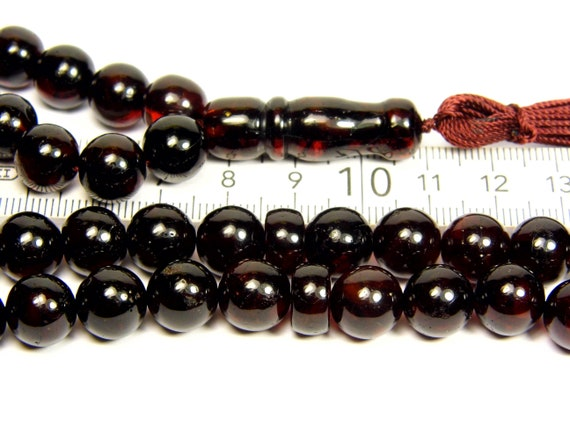 Pressed Baltic Amber Tasbih Islamic Muslim Rosary 66 prayer beads 45 grams dark cherry color 3310