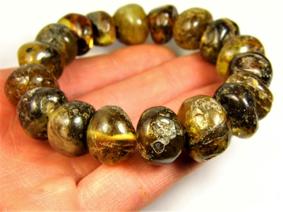 Baltic Amber stones natural genuine unique authentic women's bracelet jewelry black / honey color 40 grams / 6.9 inches FREE SHIPPING 816a