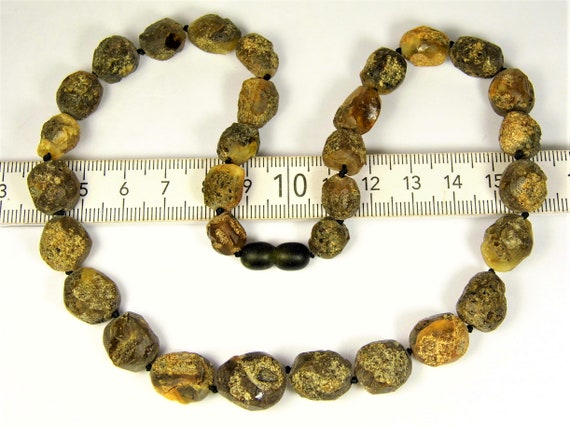 Black / brown natural genuine Baltic Amber raw unpolished rough baroque shape stones unique 24 grams necklace authentic unisex jewelry 824a