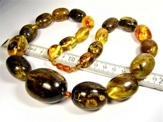 Black / honey color natural genuine real Baltic Amber olive shape stones handmade unique large 141 grams necklace authentic women's jewelry