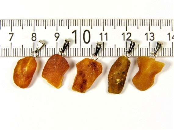 Lot of 5 natural genuine raw unpolished Baltic Sea Amber stone pendants brown 2.5 grams authentic women's jewelry FREE SHIPPING! 2690