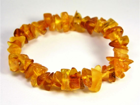 Baltic Amber bracelet natural genuine stones stretchable 9.8 grams men's / women's / unisex jewelry authentic unique gemstone 1064a
