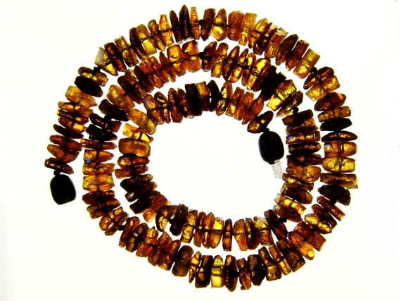 Raw unpolished rough natural genuine Baltic Amber stone necklace authentic 5 grams men's women's unisex jewelry FREE SHIPPING 779a