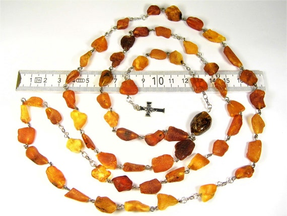 Natural genuine raw unpolished Baltic Amber gemstone catholic christian rosary chaplet authentic unique jewelry 30 grams  FREE SHIPPING 2987
