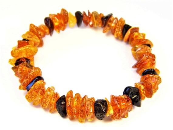 Baltic Amber multicolor bracelet natural genuine stones stretchable 9.3gr men's / women's / unisex jewelry authentic unique gemstone 1069a