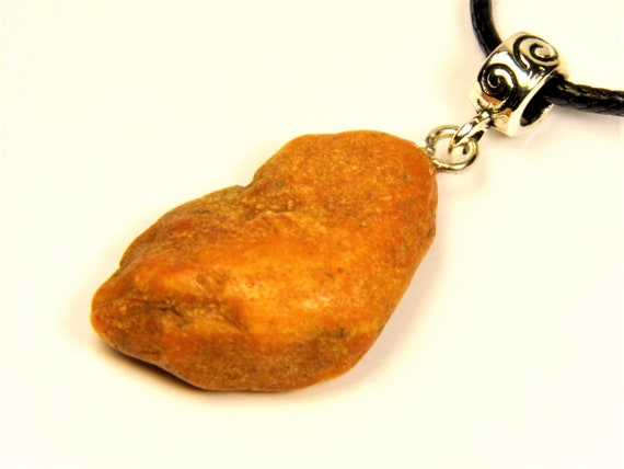 Raw unpolished Baltic Amber rough stone pendant necklace natural genuine men's women's unisex unique jewelry authentic 3567
