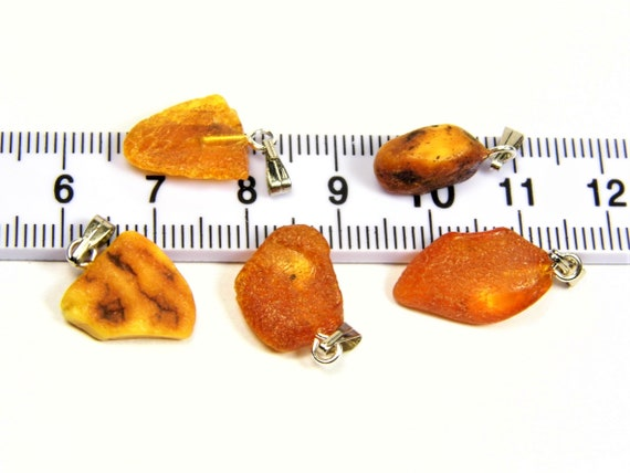 Lot of 5 Natural genuine real raw unpolished rough Baltic Amber stones pendants men's / women's / unisex authentic jewelry 3627