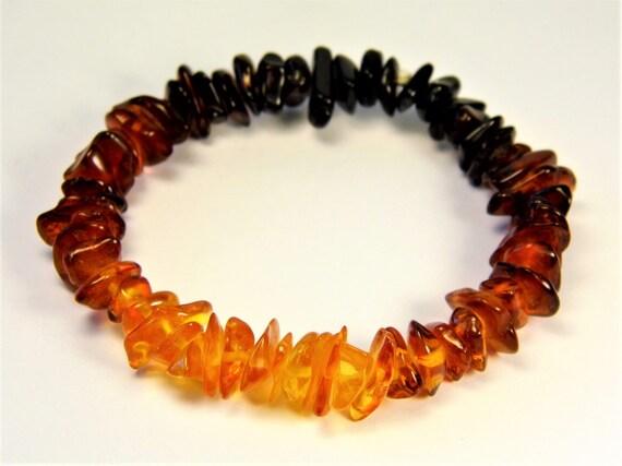 Baltic Amber multicolor bracelet natural genuine stones stretchable 10gr men's / women's / unisex jewelry authentic unique gemstone 1065a