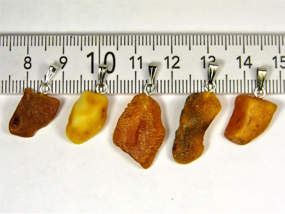 Lot of 5 natural genuine raw unpolished Baltic Sea Amber stone pendants multi-color 3.2 grams authentic women's jewelry FREE SHIPPING! 2702